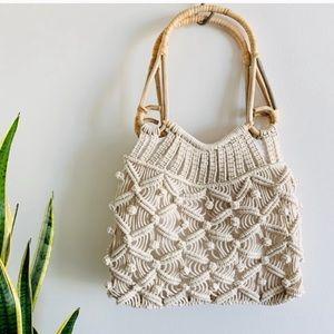 Macrame Spring Shopper Tote Bag Purse